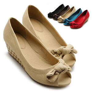 NEW-Womens-Shoes-Ballet-Flats-Loafers-Cute-Bowed-Comfort-Mid-Heels-Multi-Colored