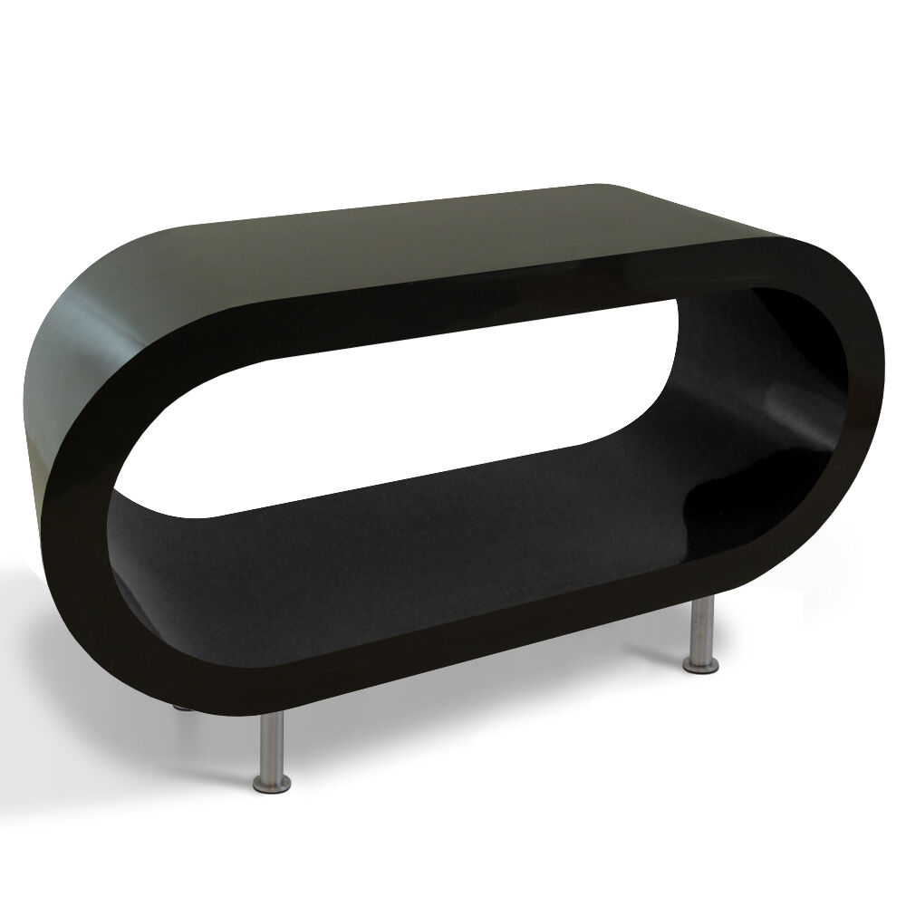 Large Oval Wood Coffee Table: Black Bespoke Designer Large