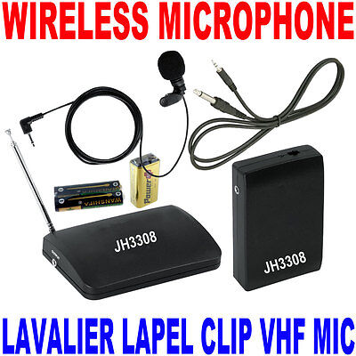 VHF Stage Wireless Lavalier Lapel Microphone System Mic FM Transmitter Receiver  on Rummage