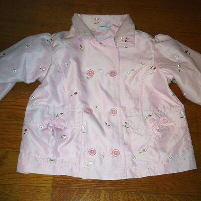 Baby Headquarters Pink Floral Button Down Jacket Girls 24mos