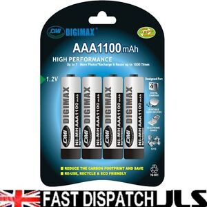 4 x Digimax AAA Rechargeable Batteries 1100 mAh phone 1100mAh NiMh