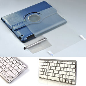 Blue-360-Leather-Smart-Case-Bluetooth-Wireless-Keyboard-For-iPad-2-3-3rd-Gen
