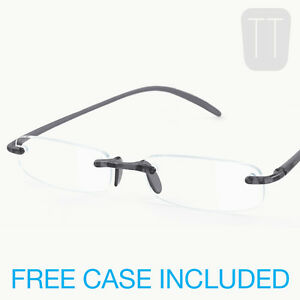 NEW MEMOFLEX RIMLESS READING GLASSES - GREY, RED, BLUE & CLEAR +1+1.50+2+2.5+3+4