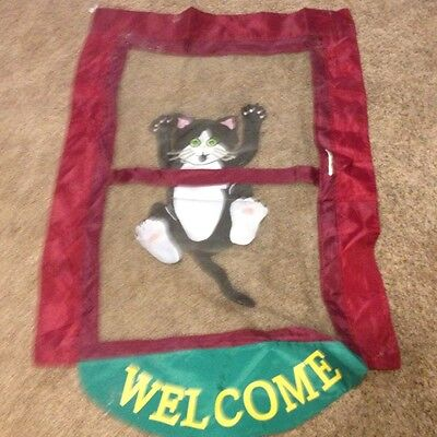 11.5x18 SPRING Summer Welcome Cat Hanging From Screen Door APPLIQUE  Garden FLAG