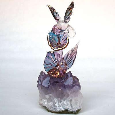 Hummingbird Figurine Hand Blown Glass Amethyst Crystal
