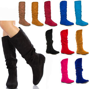Womens-Shoes-Slouchy-Knee-High-Suede-Flat-Boots-Size-5-5-6-6-5-7-7-5-8-8-5-9-10