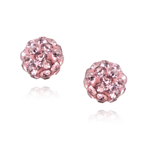 925 Silver Pink Crystal Fireball Stud Earrings, 6mm