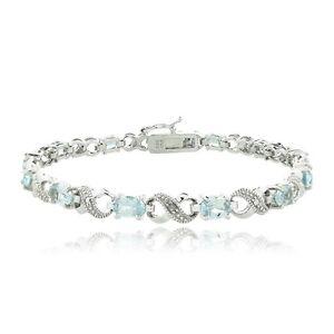 6.6 CARAT Blue Topaz & Diamond Accent Infinity Bracelet