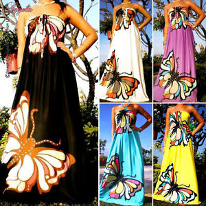 NEW-Butterfly-Strapless-Evening-Summer-Women-Long-Maxi-dress-Size-Sz-M-XXL-CA