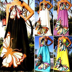 NEW-Butterfly-Strapless-Evening-Summer-Women-Long-Maxi-dress-Size-Sz-M-XXL-CA