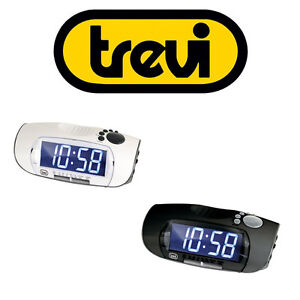 trevi digital bedside alarm clock fm am radio in white. Black Bedroom Furniture Sets. Home Design Ideas