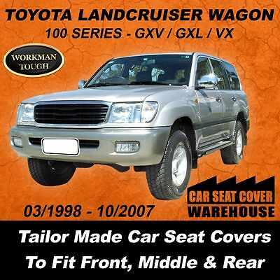 Canvas Car Seat Covers Toyota Landcruiser 100 Series Gxl Gxv Vx F+m+r 1998 -2007