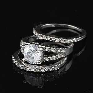 18K White Gold GP Swarovski Crystal Engagement Diamond Wedding Ring + Gift Box