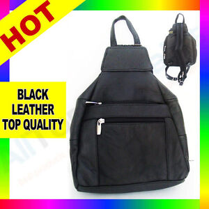 Sling-Bag-Black-Leather-Crossbody-Handbag-Backpack-Messenger-Stripe-TrianglePL10