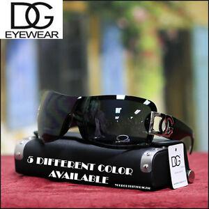 Brand-NEW-Womens-DG-Eyewear-Shield-SUNGLASSES-Fashion-Trendy-Black-Black-Lens