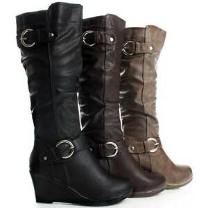 Riding-Motorcycle-Tall-Equestrian-Buckle-Cute-Wedge-Heels-Womens-Knee-High-Boots