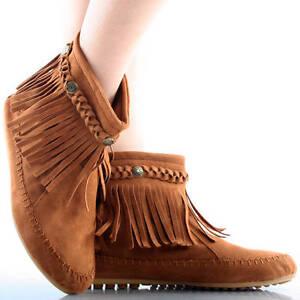 brown suede braid fringe zip up indian moccasins womens