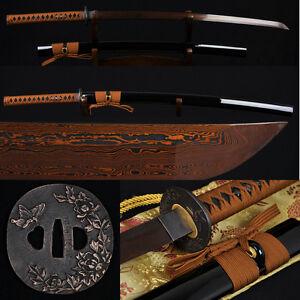 41-JAPANESE-SAMURAI-KATANA-SWORD-Black-Red-Folded-Steel-Full-Tang-Blade-Sharp