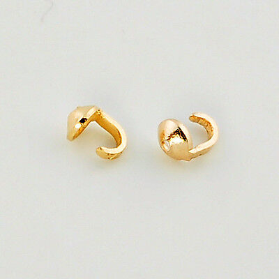 18K Solid Yellow Gold Crimp Hook Bead Tip End Findings (2)