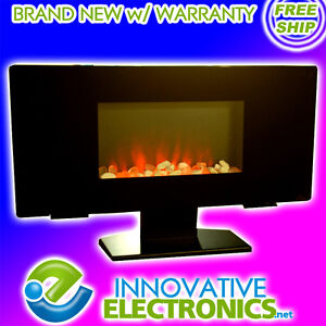 NEW-WALL-MOUNT-PEDESTAL-FLAT-GLASS-PANEL-ELECTRIC-FIREPLACE-HEATER-w-REMOTE
