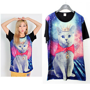 womens-funny-loose-fitting-galaxy-russian-blue-cat-prints-mini-dress-t-shirt-top