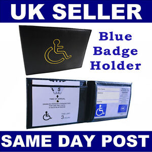 Disabled-Blue-Parking-Badge-Holder-Protector-Cover-Wallet-PU-Leather-New-UK