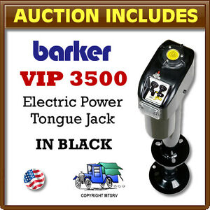 Barker-VIP-3500-BLACK-Electric-Trailer-Power-Tongue-Jack-18-034-Stroke-USA-Made