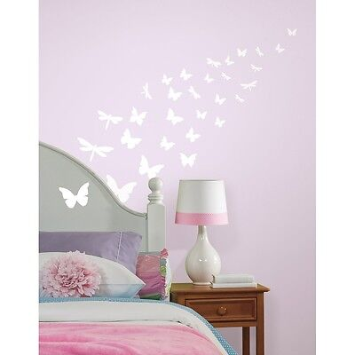 79 New GLOW IN THE DARK BUTTERFLIES & DRAGONFLIES WALL DECALS Butterfly Stickers