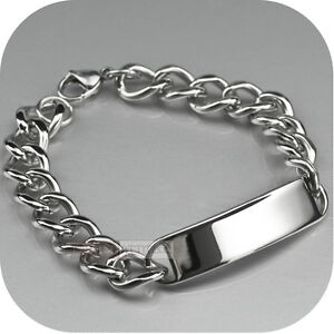 Stainless Steel Curb Chain ID Bracelet Name Tag Engravable high polished
