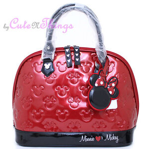 Disney Mickey Minnie Mouse Shiny Embossed Hand Bag Loungefly  Bag Red Black