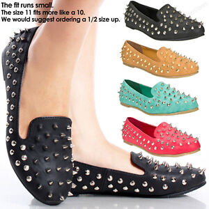 New-Womens-Spike-Shoes-Studded-Punk-Style-Flats-Fashion-Stud-Oxford-Loafers-Size