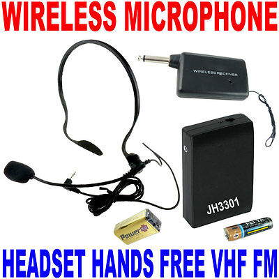 VHF Stage Wireless Headset Microphone System Mic FM Transmitter Receiver  on Rummage