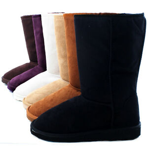 Australia-Classic-Short-Ladies-Flat-Faux-Suede-Shearling-Fur-Womens-Winter-Boots