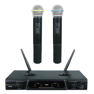 WM-300 VHF Dual Recharge Karaoke Wireless Microphone