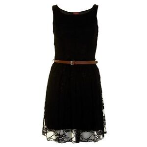 LADIES BELTED LACE SHIFT SKATER SLEEVELESS DRESS TOP SIZE 8-14