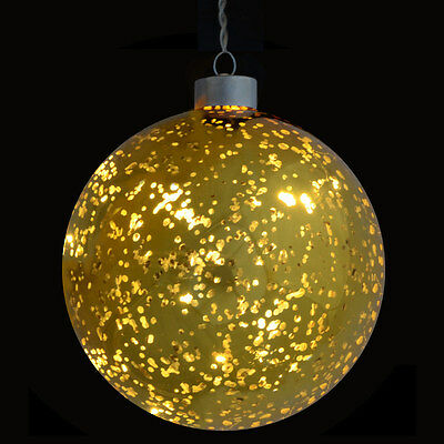 13cm Light Up Hanging Gold Plated Glass Ball Bauble Christmas Festive Decoration