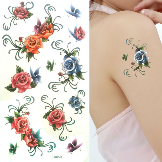 Waterproof Anti-perspiration Flower Temporary Tattoos Party Fancy