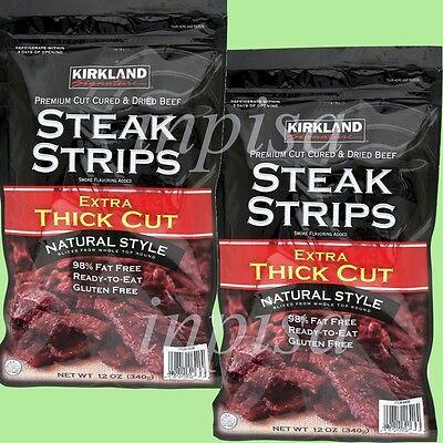 Kirkland Steak Strips 4 Bags X 12oz Ea Premium Cut Cured & Dried Beef Jerky