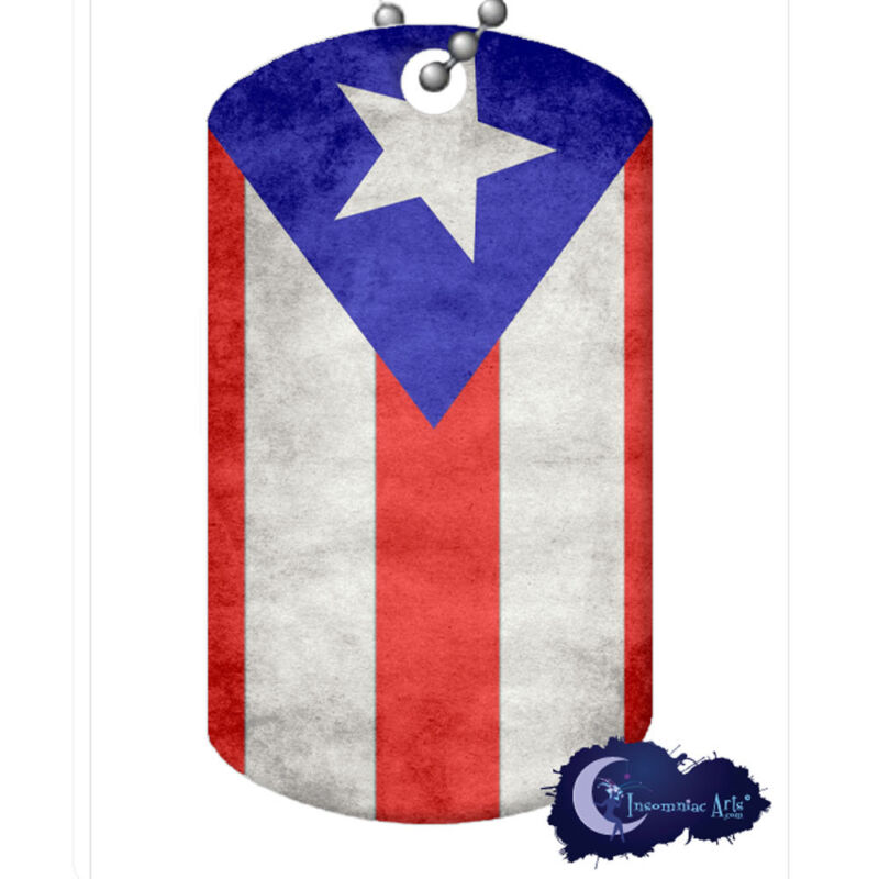 Puerto Rican Flag - Dog Tag Necklace & Chain - Puerto Rico