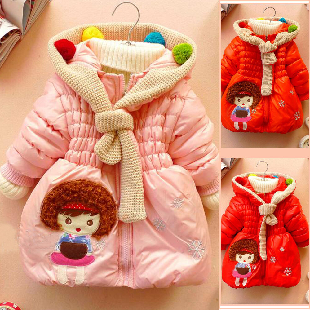 Sale Baby Girl Clothes Winter Coat Kids Pink Jacket Gown 2 6Y with Zip Girls