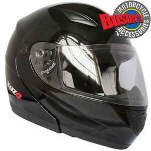 Tuzo Horizon Flip Up Front Motorbike Motorcycle Crash Helmet with Clear Visor