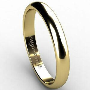 Classic-Domed-Wedding-Band-14-carat-Yellow-gold-3-00-mm-Width-Free-Engraving-NEW