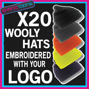 X20-WOOLY-HATS-PERSONALISED-WITH-YOUR-OWN-LOGO-TEXT-BUSINESS-WORKWEAR