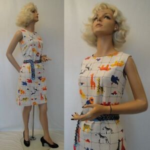 FUN-Vintage-60s-Mr-Simon-Novelty-CIRCUS-ZOO-Print-Day-Summer-Dress-M