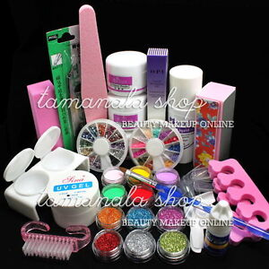 Pro Full Acrylic Powder Liquid NAIL ART KIT Block Glitter Brush Glue Tips Set#03