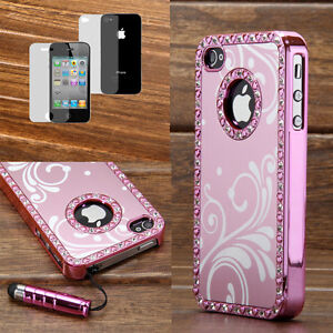 Pen-Pink-Luxury-Aluminium-Bling-Crystal-Chrome-Hard-Case-Cover-For-iPhone-4-4S