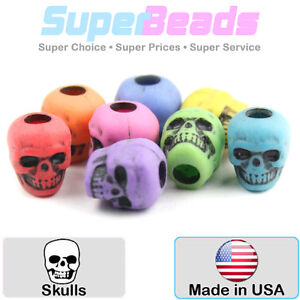 25 Novelty 13mm Skull Shaped Pony Beads - Choice of Colours (Plastic Gothic)