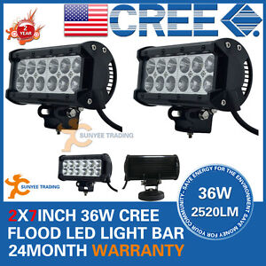 2x-7INCH-36W-CREE-LED-WORK-LIGHT-BAR-FLOOD-OFFROAD-UTE-REVERSING-SPOT-12V-24V