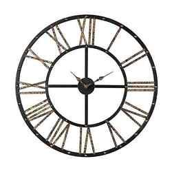 Restoration Metal Framed Roman Numeral Open Back Black & Gold Wall Clock 28