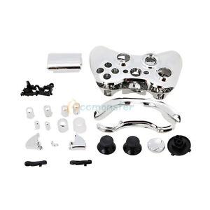 Wireless Controller Full Case Shell Cover + Buttons for XBox 360 Plating Silver